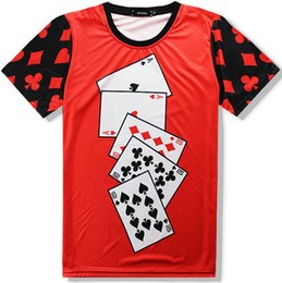 Wholesale Cool Playing Cards - Playing card T shirt Poker red short sleeve Cool designer tees Casual clothing Unisex cotton Tshirt