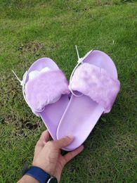 Wholesale Womens Moccasins Slippers - Original Box and Dust Bag 2017 New Rihanna Fenty designer Fur slides - Pink, Black, White Slide Sandal Womens Slippers retail