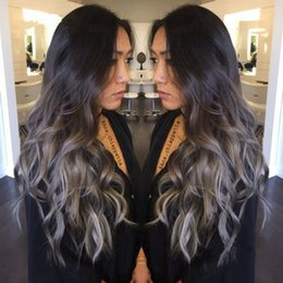 Wholesale Wig Gray Long - Long 2 Tones Synthetic Lace Front Wig Gray Grey Silver Ombre Hand Tied Wavy Wigs Dark Roots Heat Resistant Fiber Hair