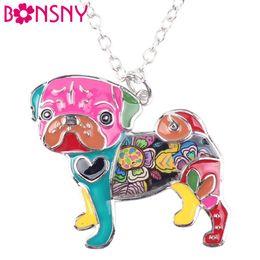 Wholesale Wholesale Metal Necklaces - Bonsny Statement Metal Alloy Enamel Pug Dog Choker Necklace Chain Collar Bulldog Pendant 2016 Fashion New Enamel Jewelry Women