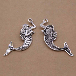 Wholesale 14k Fish - Wholesale- 10pcs 21*75mm tibetan silver charms Pendant Alloy Mermaid Fish Charms For DIY Bracelet jewelry findings and components