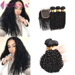Wholesale Cheap Virgin Brazilian Hair Closures - 9a Brazilian Virgin Hair 4Pcs lot Indian Kinky Curly Human Hair Weave 3 Bundles with Lace Closure Cheap Hair Piece 30 inch Weaves Closure