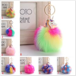 Wholesale Chained Rings - Fluffy Metal Alloy Unicorn Pom Keychain Pendant Cute Pompom Artificial Rabbit Fur ball Key Chain Bag Car Key Ring Hang Bag 9CM