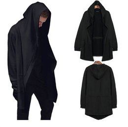 Wholesale Hooded Cloak Trench - Wholesale- 2017 Men Cloak Cape Long Black Hooded Trench Coat Plus Size Loose Wizard Party Outerwear Pocket Zipper up Sprint Trenches