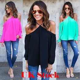 Wholesale Blouses Cross - Sexy Women Halter Chiffon Blouse Casual Spring Summer Off-shoulder Long Sleeve T-shirt 4 Colors Fashion Streetwear