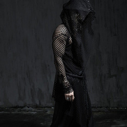 Wholesale Sexiest Mens Costume - Men korean fashion hollow out mesh long sleeve hooded t-shirt sexy mesh extended tee shirts mens harajuku costume rock cloak