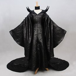Wholesale Long Sleeve Latex Dress - 2017 Black Adult Size Long Sleeve Women Maleficent Outfit Cosplay Costumes Maleficent Dresses Plus Size Customized