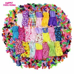 Wholesale Handmade Clothes For Girls - 24 Pcs = 12 x Handmade Mini Dress Doll Clothes Short Skirt + 12 x Shoes High Heels Dollhouse Accessories For Barbie Doll Kid Toy