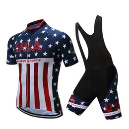 Wholesale Usa Pants - USA Style Cycling Tops With Bike Bib Pants Cycling Jerseys Quick Dry Compressed Bicycle Clothing Men Women Size XS-4XL