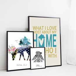 Wholesale Christmas Oil Pictures - Christmas decorative painting 3 paintings and writing deer home decoration wall painting