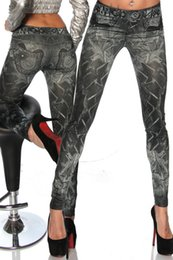Wholesale Tights Jeans Pants Leggings - Women's Print Fake Jeans Seamless Skinny Leggings Tight Pants HY9055bk