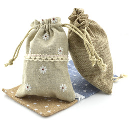 Wholesale Wholesale Wedding Linens - Mix style 8x12cm Cotton Linen Drawstring Pouch Bag Jewelry candy Christmas Wedding Gift Bags NE814