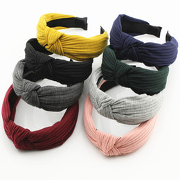 Wholesale Cross Ornaments - Korean Version of The New Hair Headdress Cloth Knitted Cross Play Hair Hoop Hoop Wide Stripe Ornaments