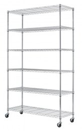"Wholesale Metal Bathroom Shelf Rack - 82""x48""x18"" 6 Tier Layer Shelf Adjustable Wire Metal Shelving Rack"