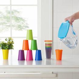 Wholesale coffee color suit - 7pcs set 7 color portable Rainbow suit cup picnic tourism plastic cup coffee household cups Color Random ZA5231