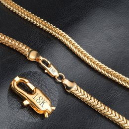 Wholesale Gold Chain 5mm - Gold Necklace For Men Jewelry 18K Real Gold Plated Chains 5MM 20inch 55CM 71CM Fashion Jewelry Stainless Steel Figaro Chain N1041