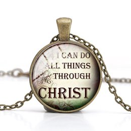 Wholesale Inspirational Charms - Christian Quotes Pendant Necklace Jesus Christ Glass Cabonchon Handmade Charm Well-know Sayings Inspirational Language Easter Christmas Gift
