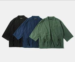 Wholesale Japanese Wear - 2016 New Fashion street wear mens Noragi kimono japanese shirt kanye west shirt Hemp Men shirt