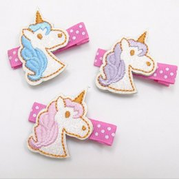 Wholesale Embroidered Hair Clip - Kids Hair clips Barrettes unicorn embroider horse Princess Hair accessories Cute baby gift Boutique Accessories 2016 European wholesale Pink