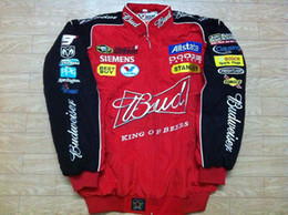 Wholesale M Nascar - Embroidery LOGO F1 FIA NASCAR IndyCar V8 Supercar MOTO GP Racing Cotton Jacket Motorcycle Rider Jacket For Budweiser Jacket,A07A08