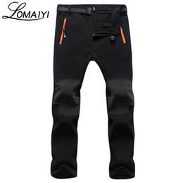 Wholesale Men S Shark Skin - Wholesale- LOMAIYI 2017 Men's Winter Warm Casual Pants Men Shark Skin Softshell Trousers Male Black Sweatpants Waterproof Cargo Pants,AM108