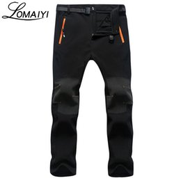 Wholesale Shark Trousers - Wholesale- LOMAIYI 2017 Men's Winter Warm Casual Pants Men Shark Skin Softshell Trousers Male Black Sweatpants Waterproof Cargo Pants,AM108