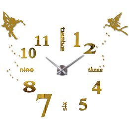 Wholesale Cartoon Wall Watches - Wholesale- 25''-40'' Large Oversized DIY 3D Wall Clock Angel Guardian Digital Big Mantel Clocks Kitchen Modern Self-adhensive Clock Watches