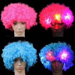 Wholesale Led Light Wigs - 2017 Colorful Clown Cosplay Wavy LED Light Up Flashing Hair Wig Funny Fans Circus Halloween Carnival Glow Party Decoration