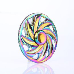 Wholesale Toy Free Wheels - Free Shipping Wheel Style Fingertips Spinner Colorful EDC Toys Rainbow circular Metal hand Spinner with Durable Bearing