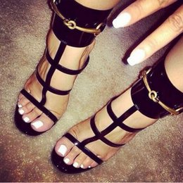 Wholesale T Bars Heels - 2017 White Black Glossy Patent Leather Ankle Strap Sandals Crisscross Strappy T-Bar Gold Sequined Shoes High Heel Party Shoes