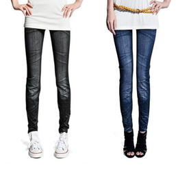 Wholesale Colors Skinny Stretch Pants Wholesale - Wholesale- Hot Fashion Women's trousers pants Ladies Casual Tights Stretch Skinny jeans pants Legging 2 Colors 51 Freeshipping