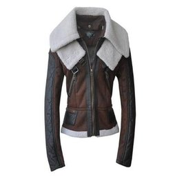 Wholesale Vintage Leather Jackets For Women - Brown red motorcycle warm fur leather coats womens jackets slim for the woman short coat british style faux leather jacket XL