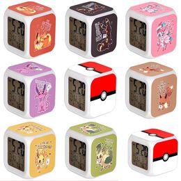 Wholesale Table Clocks For Kids - 3D cartoon Poke Pikachu Digimon LED Colorful Changed Digital desk table alarm Clock Night Light For Kids Birthday Christmas Gifts LC407-2