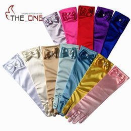 Wholesale Children Birthday Party Gifts - Kids Children Girls Long Gloves For Princess bowknot birthday Cosplay Nylon Dance Stage Performance Party Gloves XMAS Gifts 13 colors choose