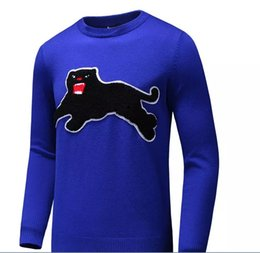 Wholesale Mens Fashion Knitwear - Latest Black Leopard embroidery Men Casual Sweater Pullover Long Sleeve Winter Mens Knitted Sweaters Leisure Knitwear Gray Blue 3XL