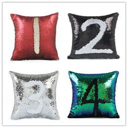 cuscino cambia colore Sconti Fodera per cuscino con paillettes a forma di sirena Magical Pink Fodera per cuscino in lino 40cmX40cm