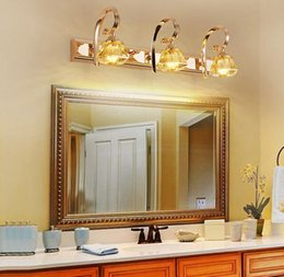 Wholesale Mirror Wall Light Crystal - New Luxurious Modern Gold Crystal LED Mirror Lights Creative Fashion Bathroom Washroom Wall Sconces Dressing Room Wall Lamp
