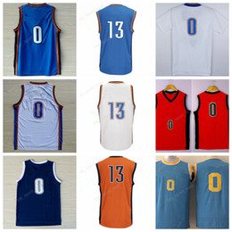 Wholesale Paul George Jersey - High 0 Russell Westbrook Jersey UCLA Bruins College Throwback Basketball 13 Paul George Jerseys Home Blue White Orange with player name