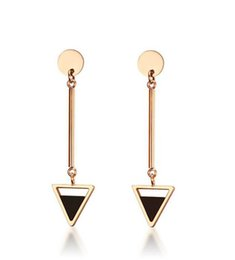 Wholesale Gold Stick Earrings - Wholesale Custom Triangle Stick Stainless Steel Rose Gold Drop Earrings For Women