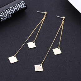 Wholesale Square Metal Pendant - Women's Gold Metal Chain Fashion Earrings Extra Long Fringes Dangle Square Pendant Drop Earring Jewelry New Fashion 2017