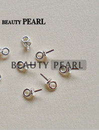 Wholesale bulk caps - Bulk of 50 Pieces Beads End Connectors for Charms DIY Pearl Findings 925 Sterling Silver Bead Caps