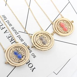 Wholesale Twisted Heart Pendant - Potter Movie 8 Colors Hermione Granger Time Converter Glass Hourglass Time Turner Pendant Necklace Harry Necklace Jewelry Accessories