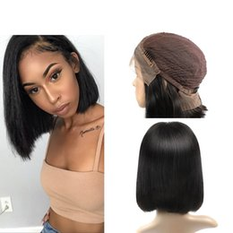 Wholesale Brown Straight Wig Part - BOB Lace Front Human Hair Wigs Straight Uglam Brazilian Human Hair Wig Bangs Free Middle Side Part 130% Density Free Shipping Unprocessed