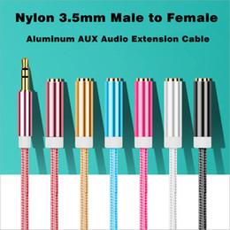zócalo del panel del chasis Rebajas Cable de extensión de audio de 3.5 mm estéreo macho a hembra Cable de teléfono Aux Cable para auriculares 25 CM 100 CM Nylon Braied con 7 colores