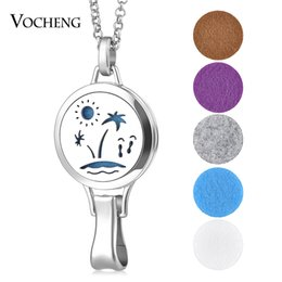 Wholesale Circle Clips - Aromatherapy Locket Necklace Hangtag Pendant Clip 316L Stainless Steel Magnetic without Felt Pads VA-340
