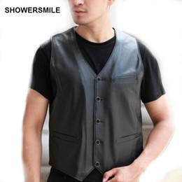 Wholesale Leather Sleeveless Jackets For Men - SHOWERSMILE Brand Clothing Leather Vests For Men Genuine Leather Waistcoat Sleeveless Motorcycle Jacket Real Sheepskin Vest