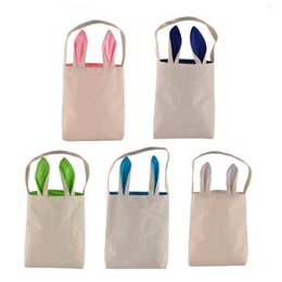 Wholesale Bunny Flats - 5 Colors Easter Bunny Bag Celebration Gifts Easter Hare Gifts Cotton Canvas Handbags Shopping Bag Easter Gift Storage Bags CCA7534 120pcs