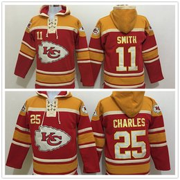 Wholesale Charles Mix - Stitched Chiefz Hoody 11 SMITH  25 CHARLES Red Hockey Men Hoodie Jerseys Ice Jersey Mix Order