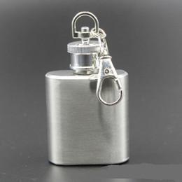 Wholesale Mini Flask Key Chains - Flagon Flask 1oz Russian Stainless Steel Hip Flask Portable Mini Alcohol Whiskey Wine Drink Bottle Pocket Liquor Drinkware Key Chain