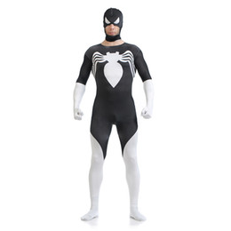 halloween mens halloween black and white spiderman cosplay costumes lycra zentai superhero sexy costume full body - Classic Mens Halloween Costumes